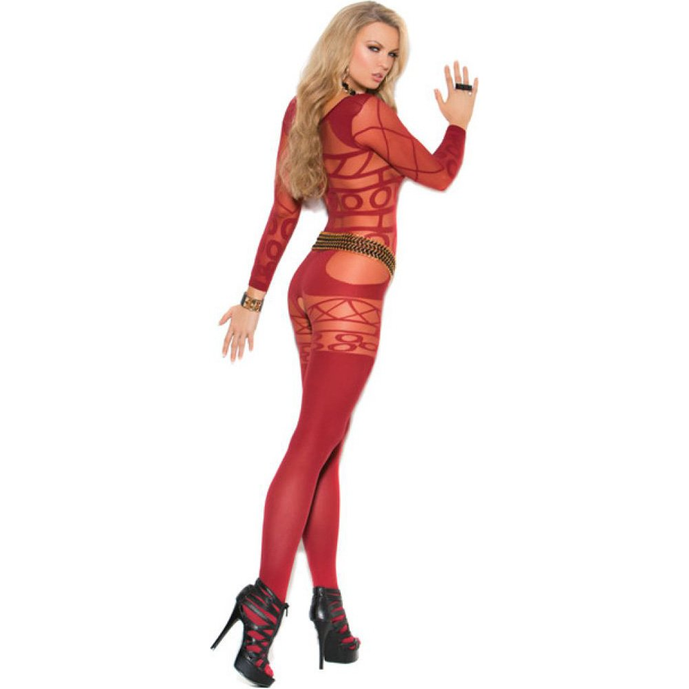 Vivace Long Sleeve Sheer and Opaque Bodystocking with Open Crotch Burgundy One Size - View #2
