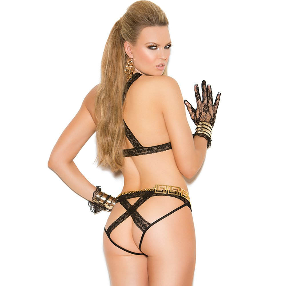 Vivace Lace Cupless Bra and Panty with Open Back Black One Size - View #2