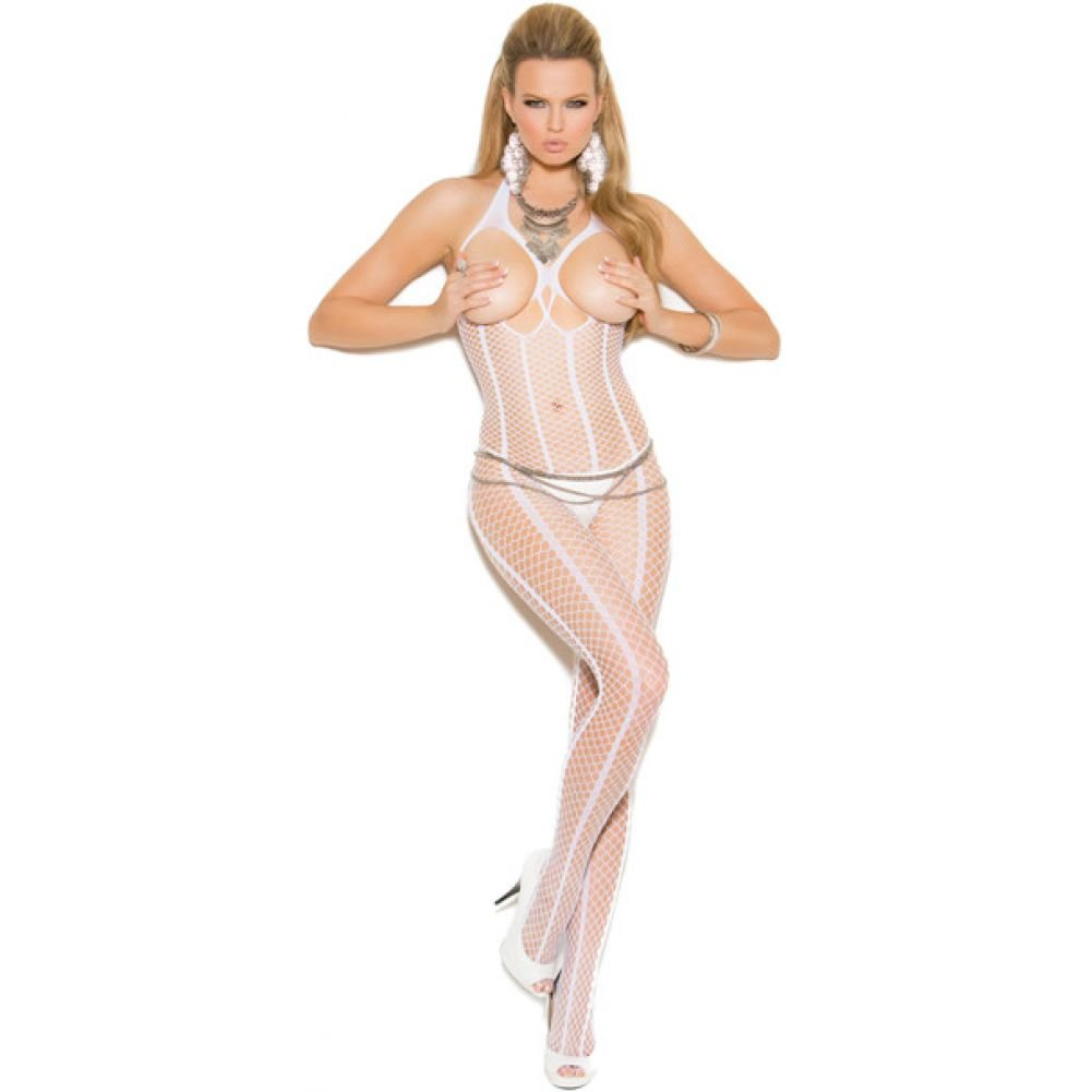 Vivace Open Bust Crochet Bodystocking with Open Crotch White One Size - View #1