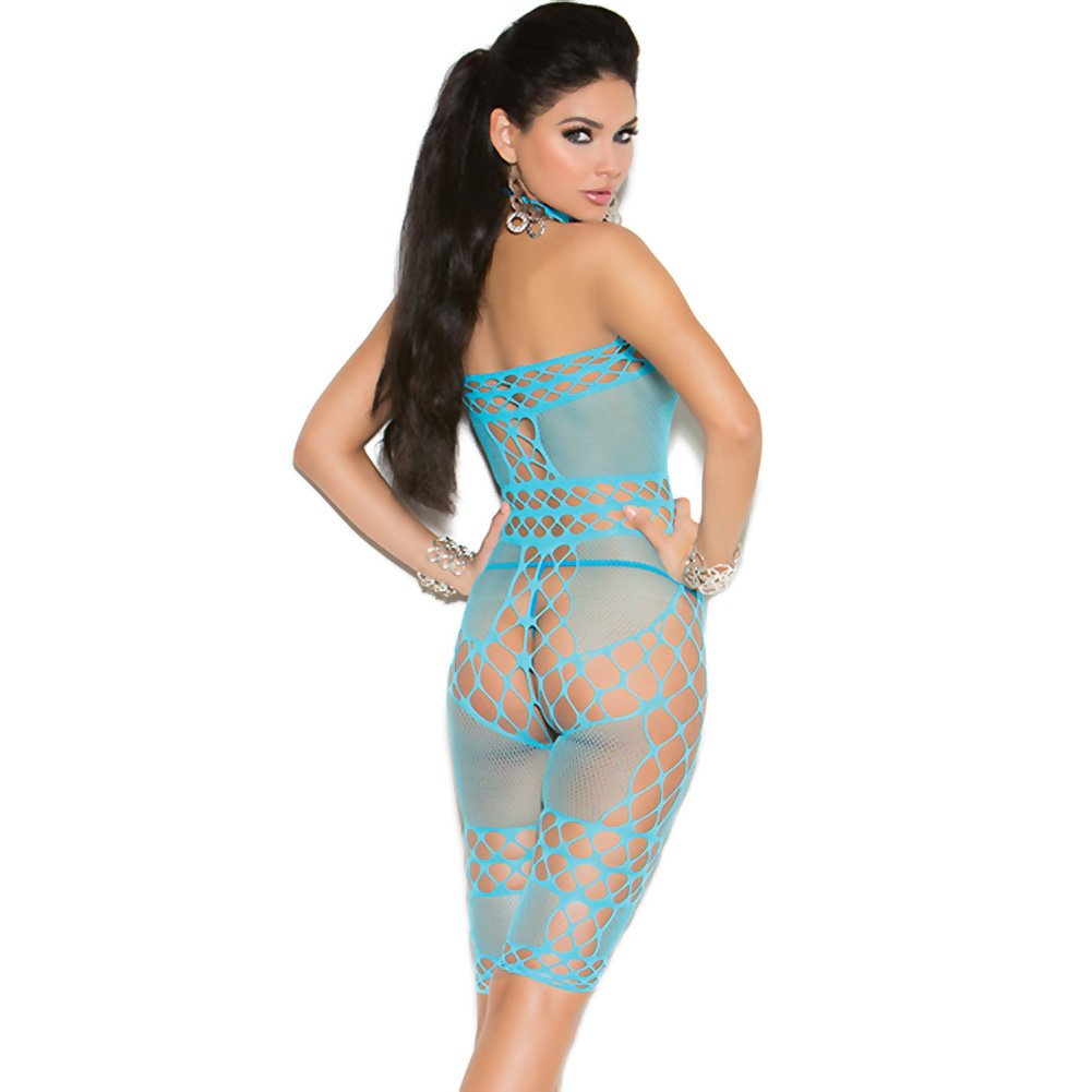 Vivace Crochet and Fishnet Halter Neck Mid Length Bodystocking Turquoise One Size - View #2