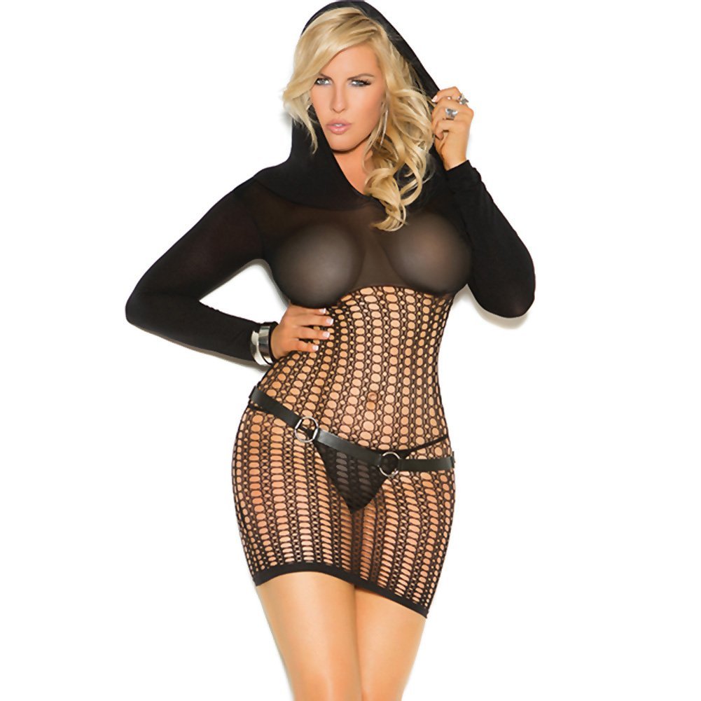 Vivace Crochet Long Sleeve Mini Dress with Hood Black Queen - View #1