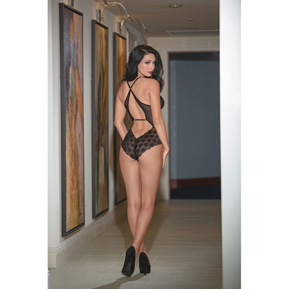 Fringed Front Mesh and Lace Teddy Black Small - View #1