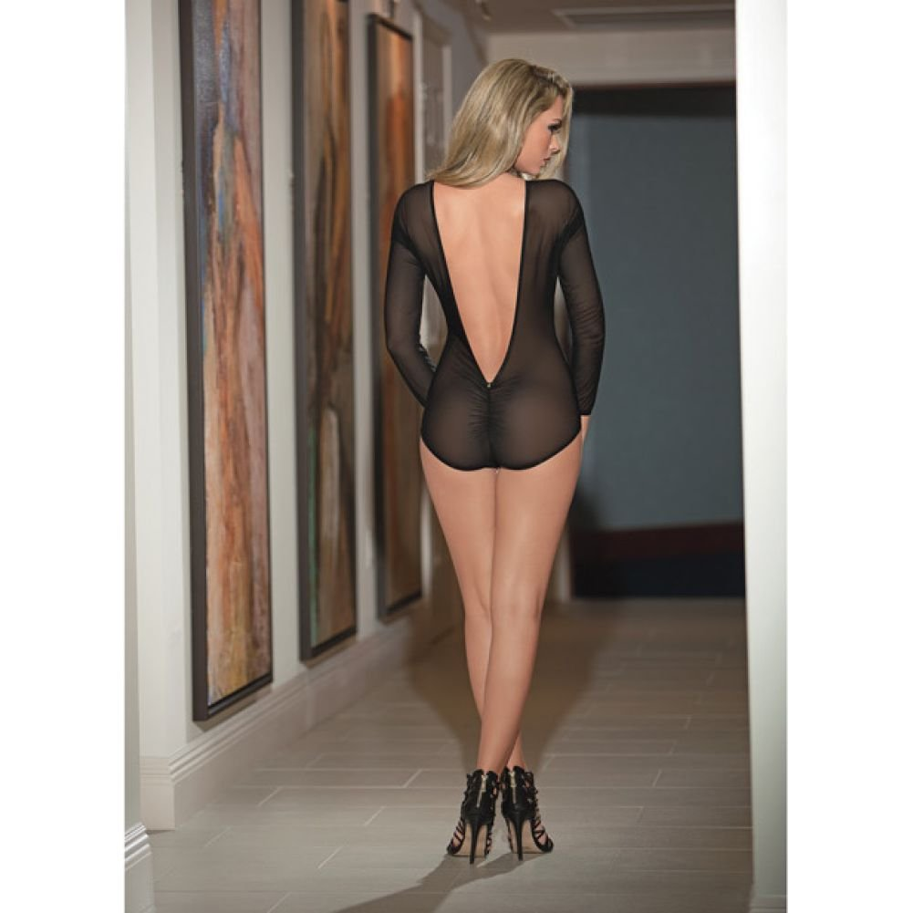 Deep Plunge Front and Back Teddy with Rouched Back Black Medium Large - View #1
