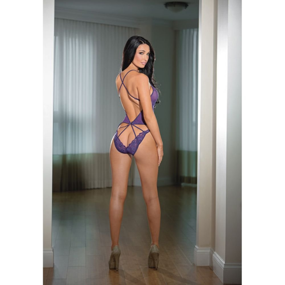 Sheer and Strappy Back Teddy with Lace Midnight Purple One Size - View #2