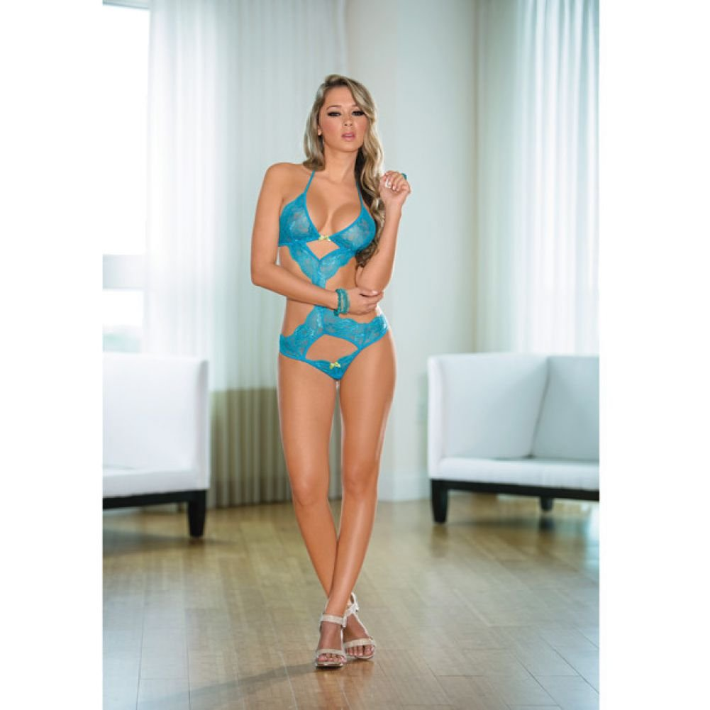 Lace Teddy with Cutouts Ocean Blue Lime One Size - View #1