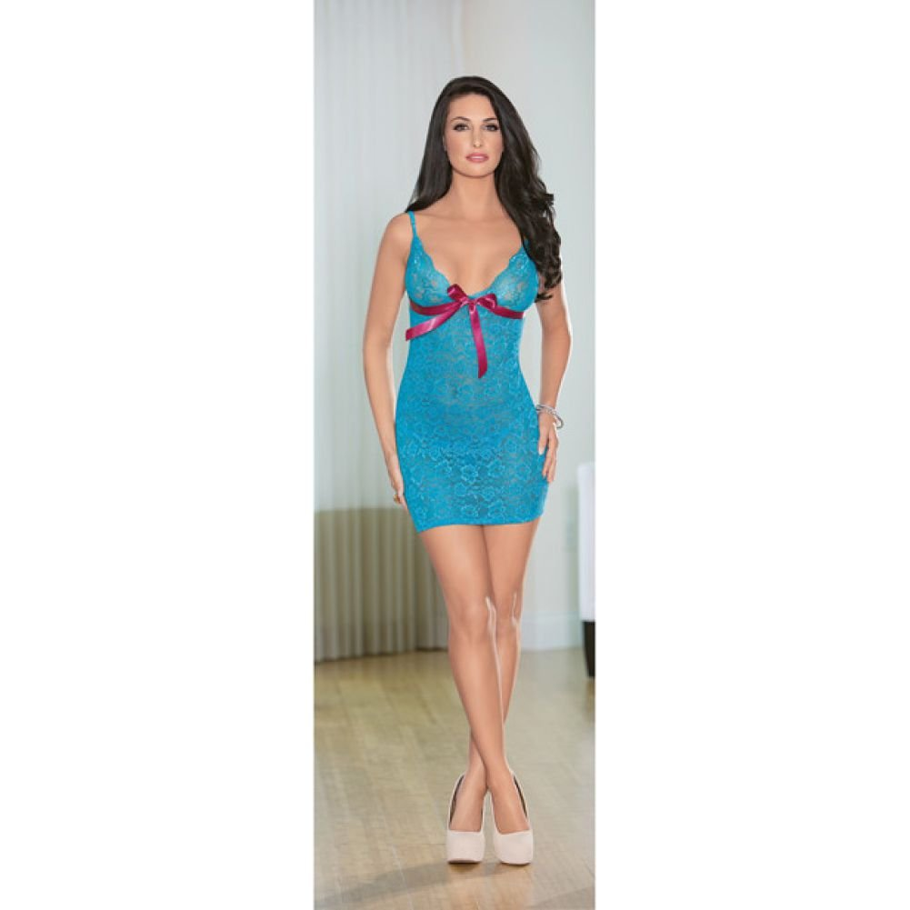 Escante Lace Up Back Chemise with Bow and G-String Set Extra Large Ocean Blue/Fuchsia - View #1