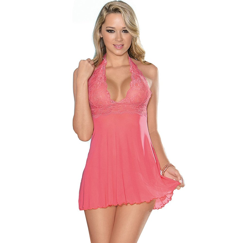 Sheer Halter Tie Baby Doll with Lace Coral Pink Extra Large - View #1