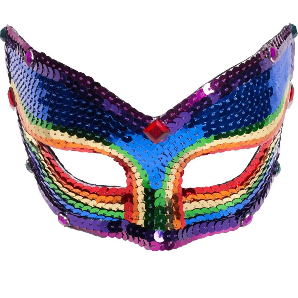Forum Novelties Deluxe Rainbow Pride Sequin Half Venetian Mask Eyemask - View #1