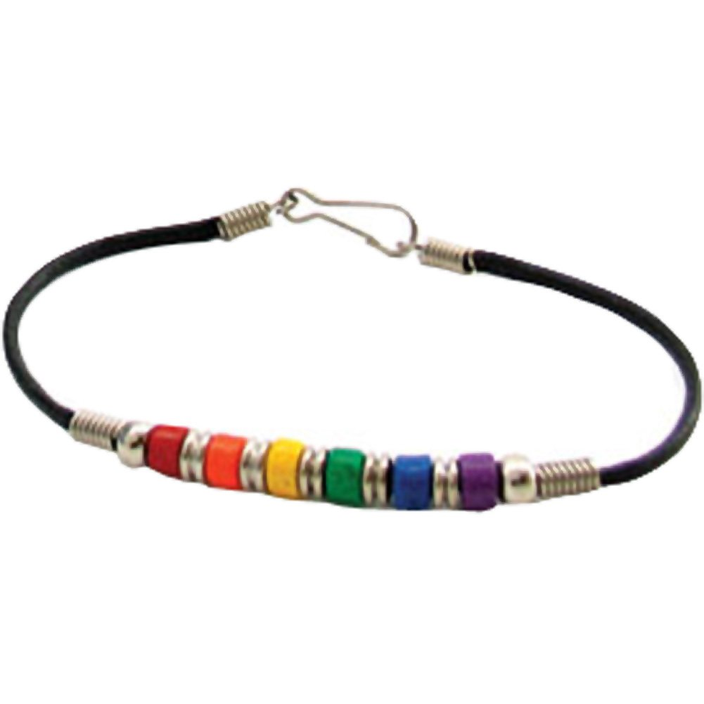 "Gaysentials Ceramic Bead Anklet Bracelet 8"" Rainbow - View #2"