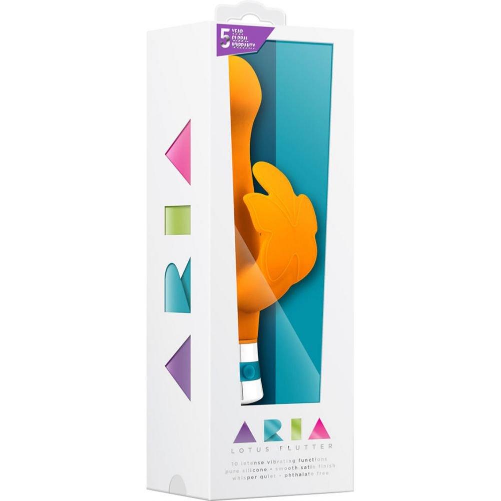 "Blush Aria Lotus Flutter Silicone Rabbit Style Vibrator 7.25"" Tangerine Orange - View #1"