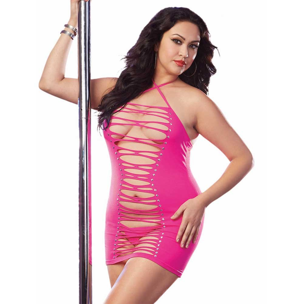 Dreamgirl Seamless Halter Dress Adjustable Neck Ties G-String Neon Pink QS - View #1
