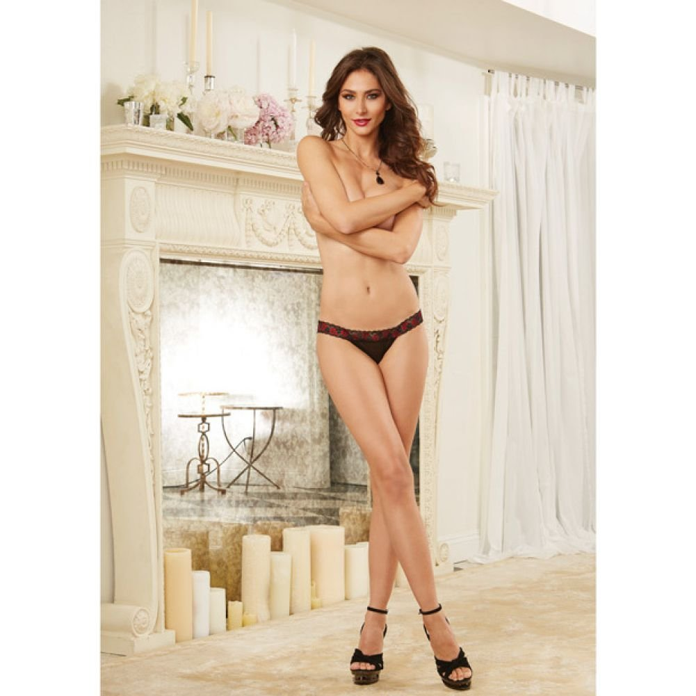 Scalloped Cross Dye Lace Stretch Mesh Panty with Strappy Back Black Small - View #4