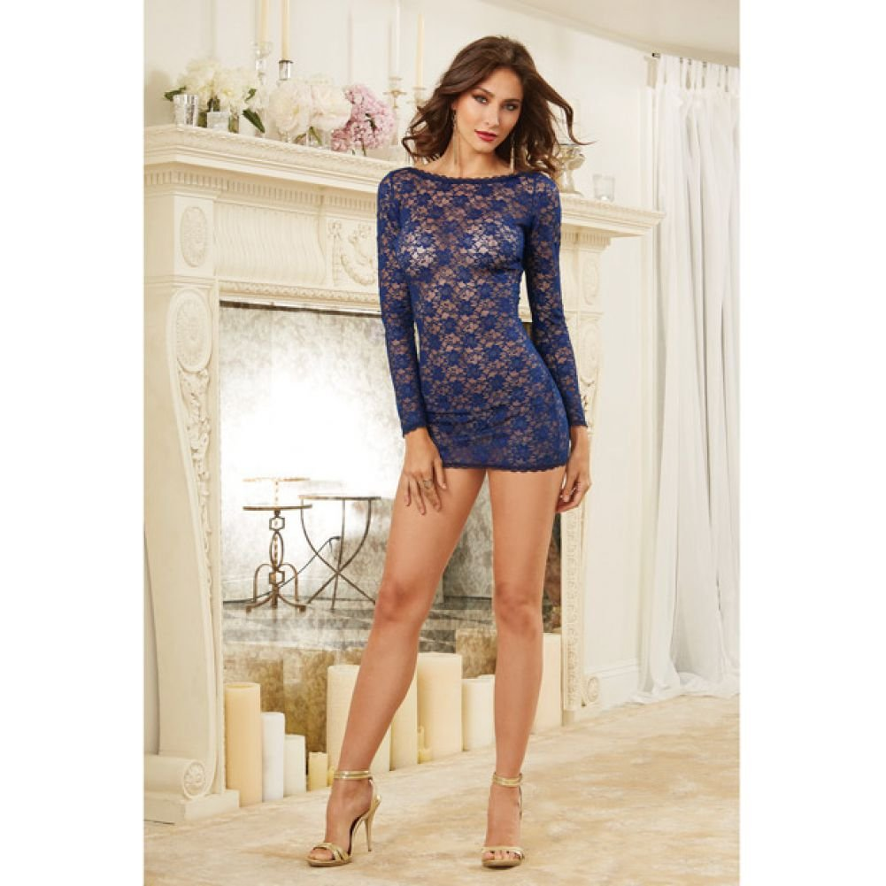 Stretch Lace Long Sleeve Tunic with Open Back and Removable and Criss Cross Stra.. - View #4