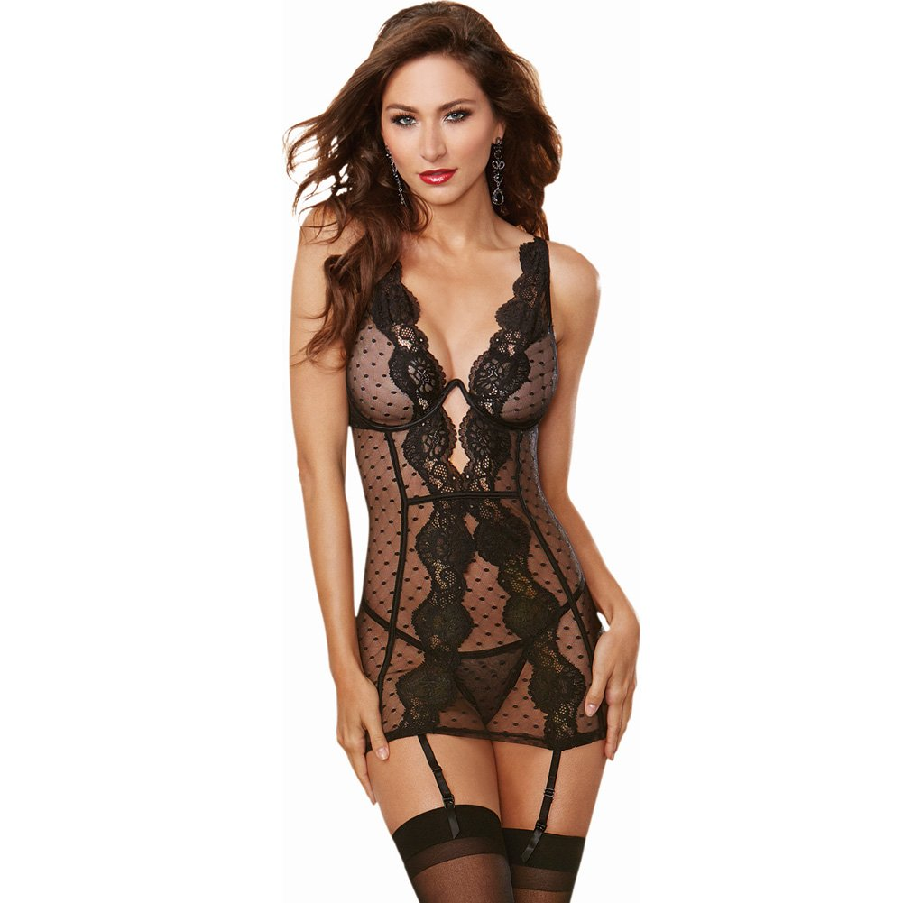 Stretch Mesh Lace Garter Slip with Adjustable Garters and Thong Large Black - View #1
