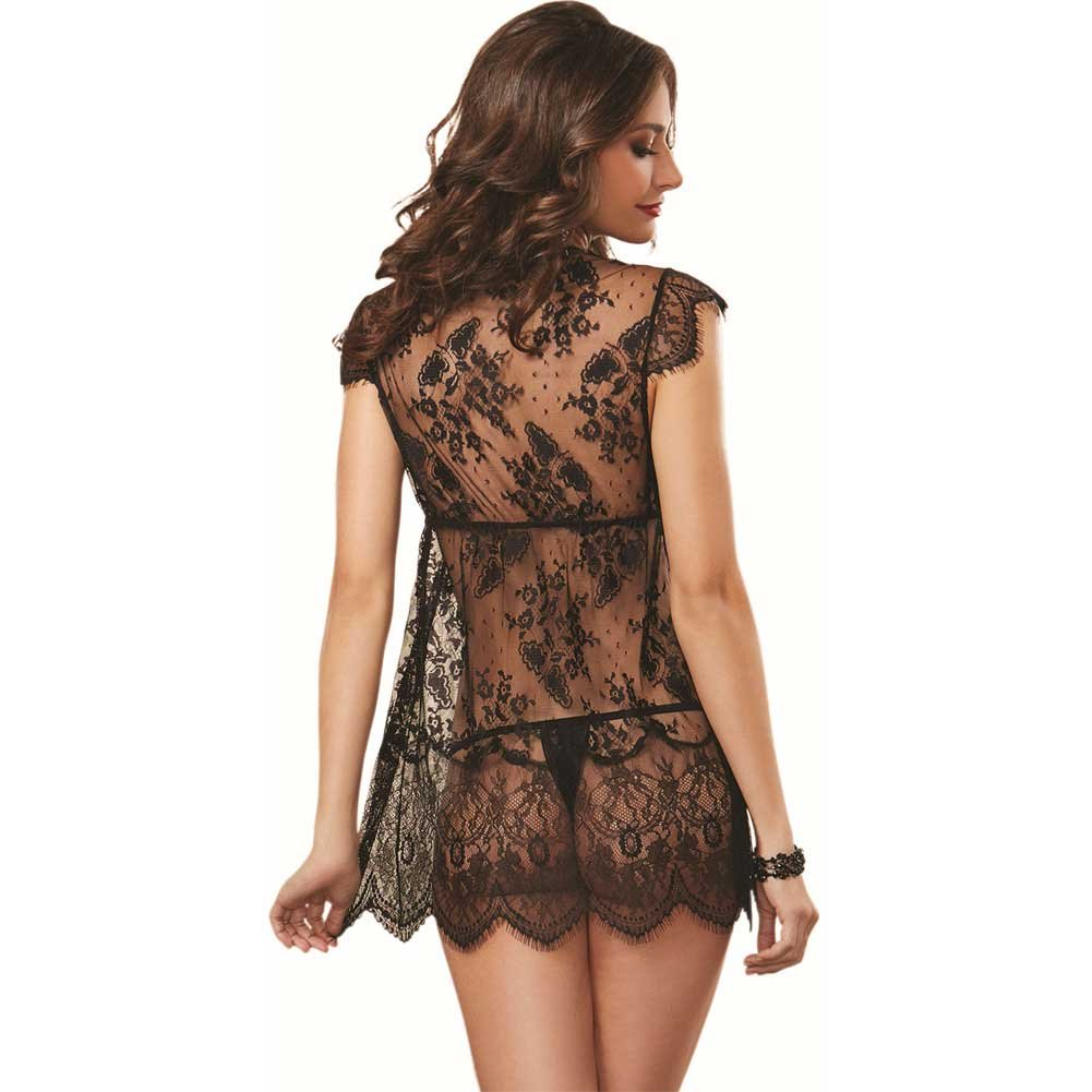 Delicate Allover Lace Robe and Thong Black Medium - View #2