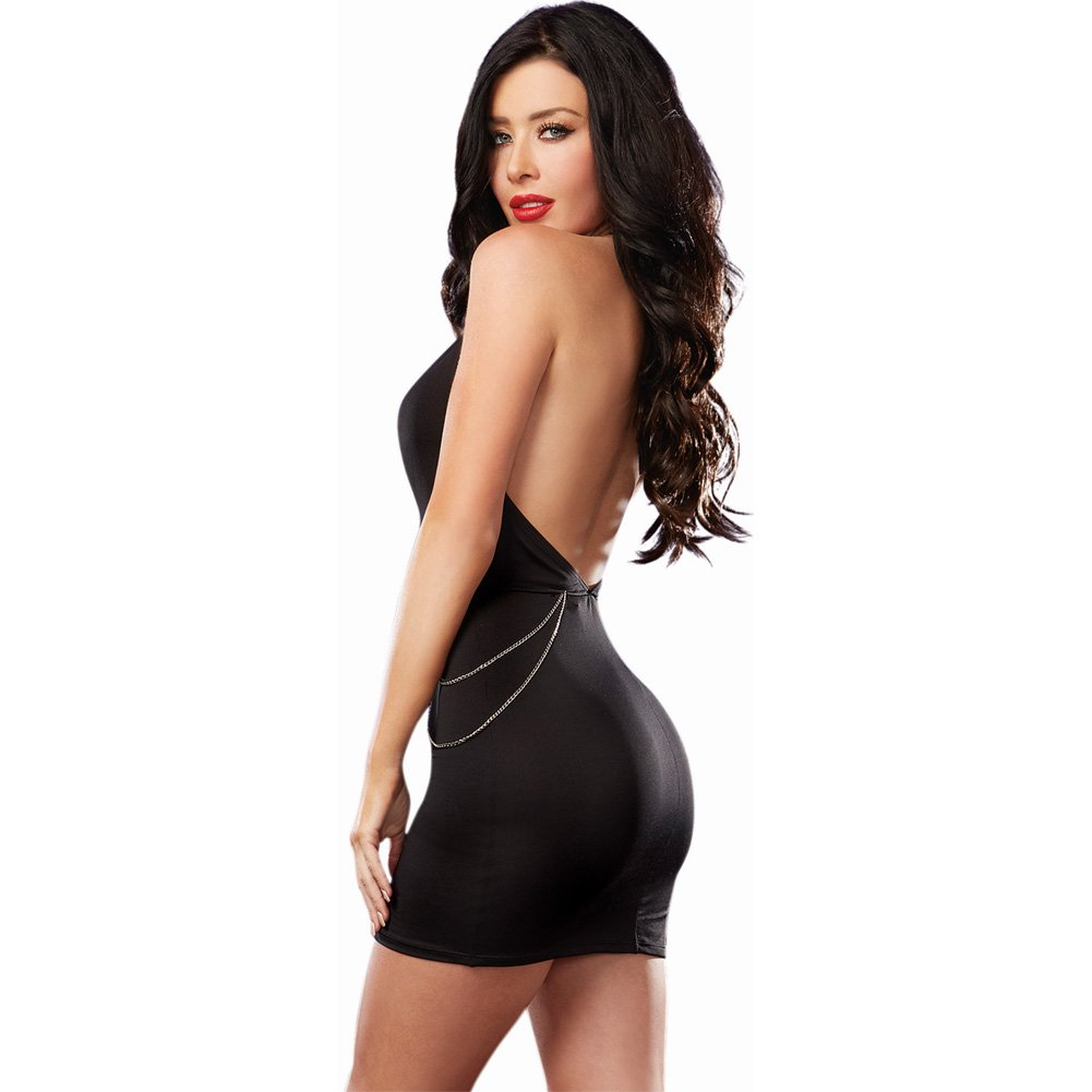 Microfiber Halter Dress with Plunging Keyhole Neckline and Chain Detail Black Medium - View #2