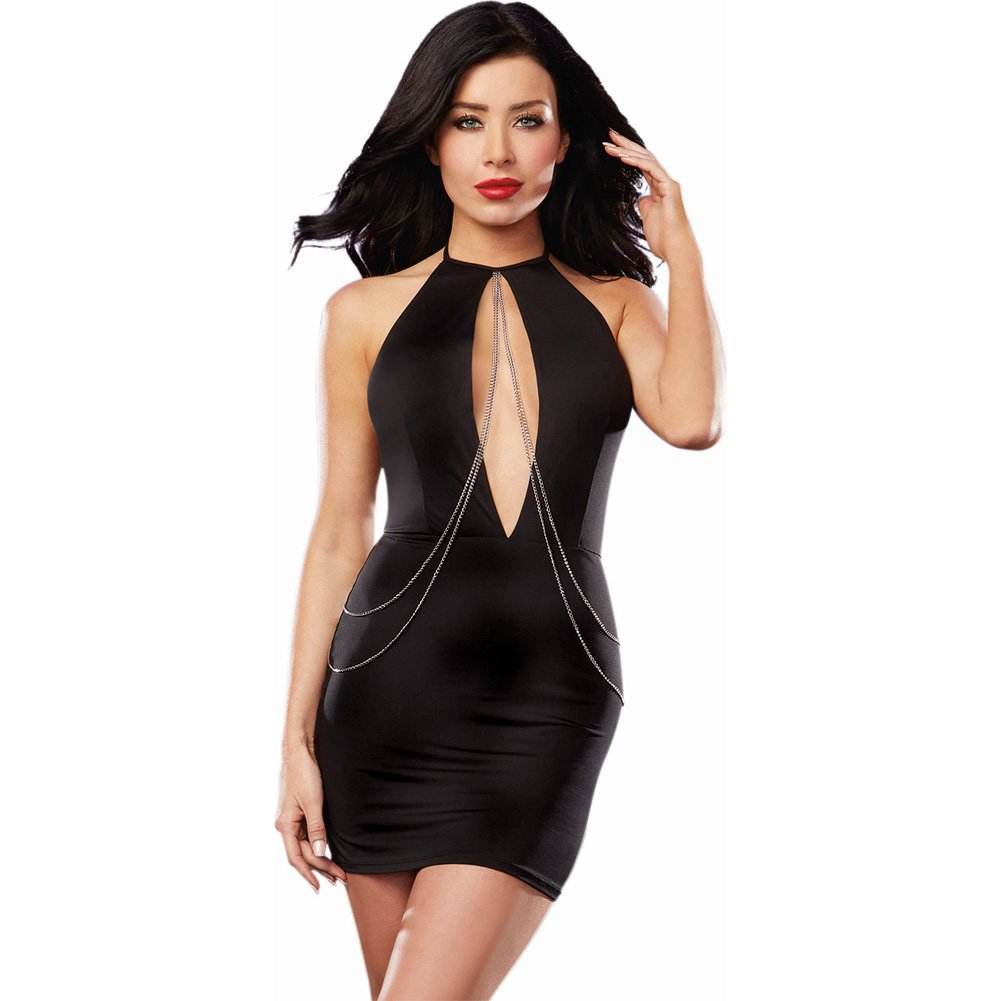 Microfiber Halter Dress with Plunging Keyhole Neckline and Chain Detail Black Large - View #1
