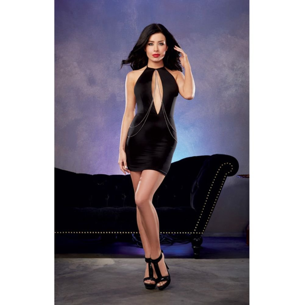 Microfiber Halter Dress with Plunging Keyhole Neckline and Chain Detail Black Large - View #3