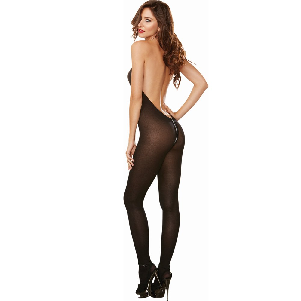 Semi Opaque Halter Bodystocking with Adjustable Halter Ties and Front to Back Zipper Black One Size - View #2