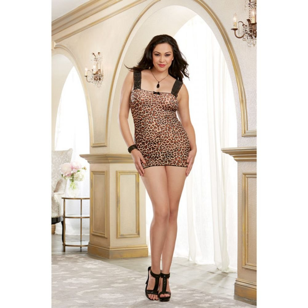 Stretch Mesh Chemise with Lace Straps and Wide Adjustable Back Lace Up Detail Leopard Queen - View #4