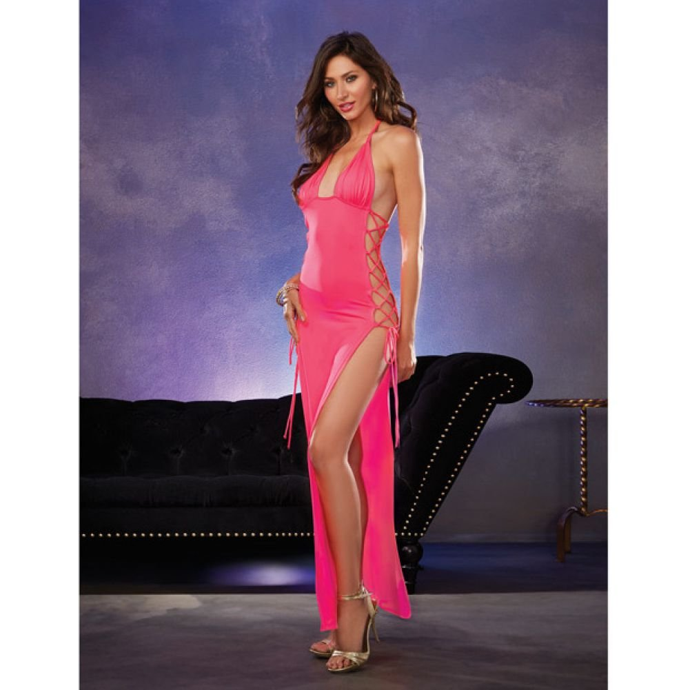 Strtch Jersey Full Lngth Unlined Hlter Dress with Opn Sies and Adjstable Lce Up .. - View #3