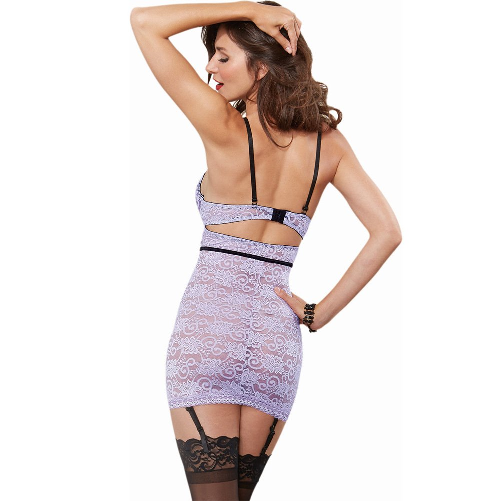 Stretch Lace Garter Slip with Underwire Cups and Removable Adjustable Garters Laveneder Black Large - View #2