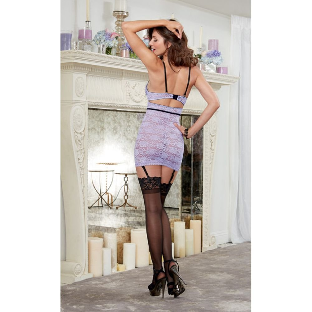 Stretch Lace Garter Slip with Underwire Cups and Removable Adjustable Garters Laveneder Black Large - View #4