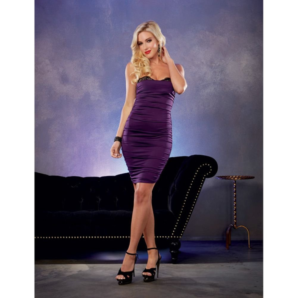 Stretch Jersey Ruched Dress with Built in Underwire Lace Bra Plum Medium - View #3
