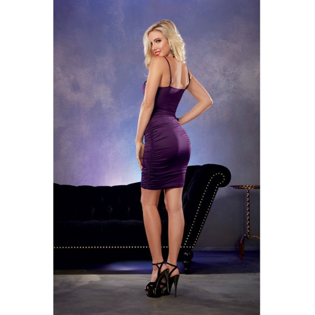 Stretch Jersey Ruched Dress with Built in Underwire Lace Bra Plum Large - View #4