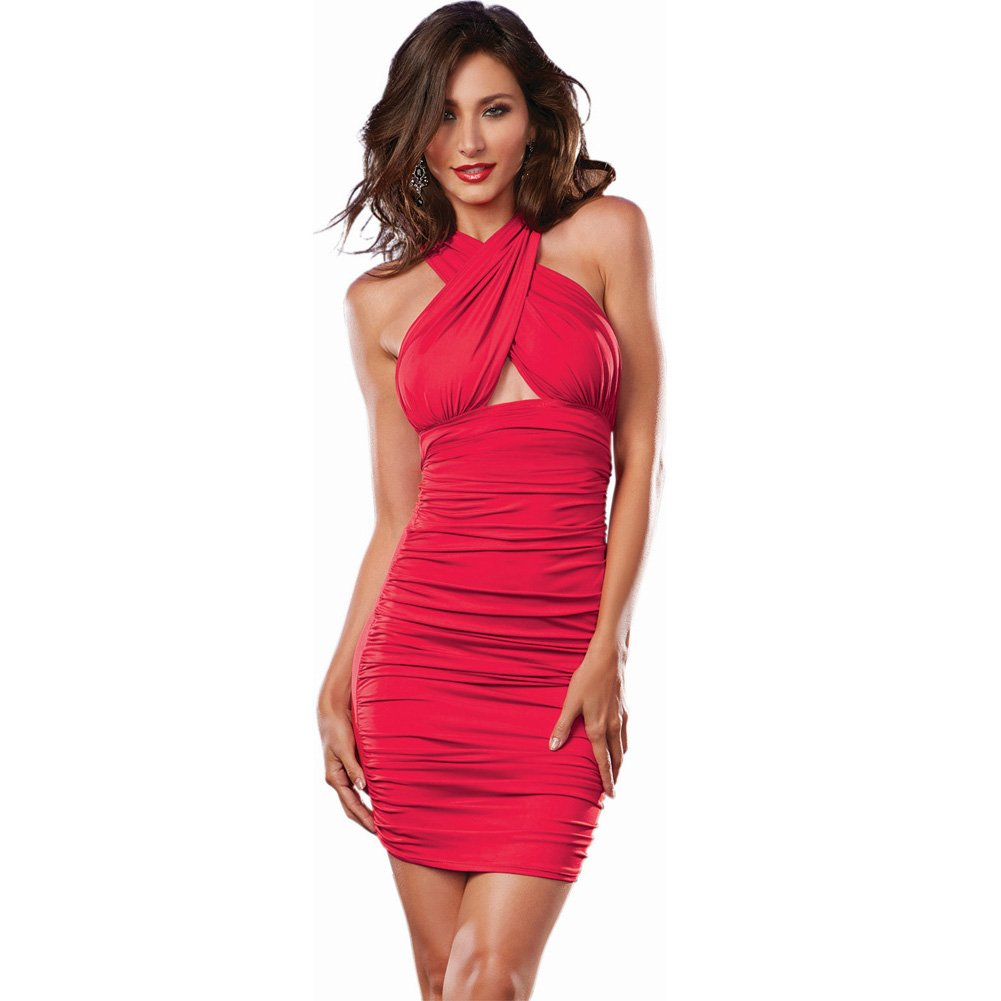 Dreamgirl 6-Way Ruched Front Stretch Jersey Dress Lingerie Small Hot Red - View #1