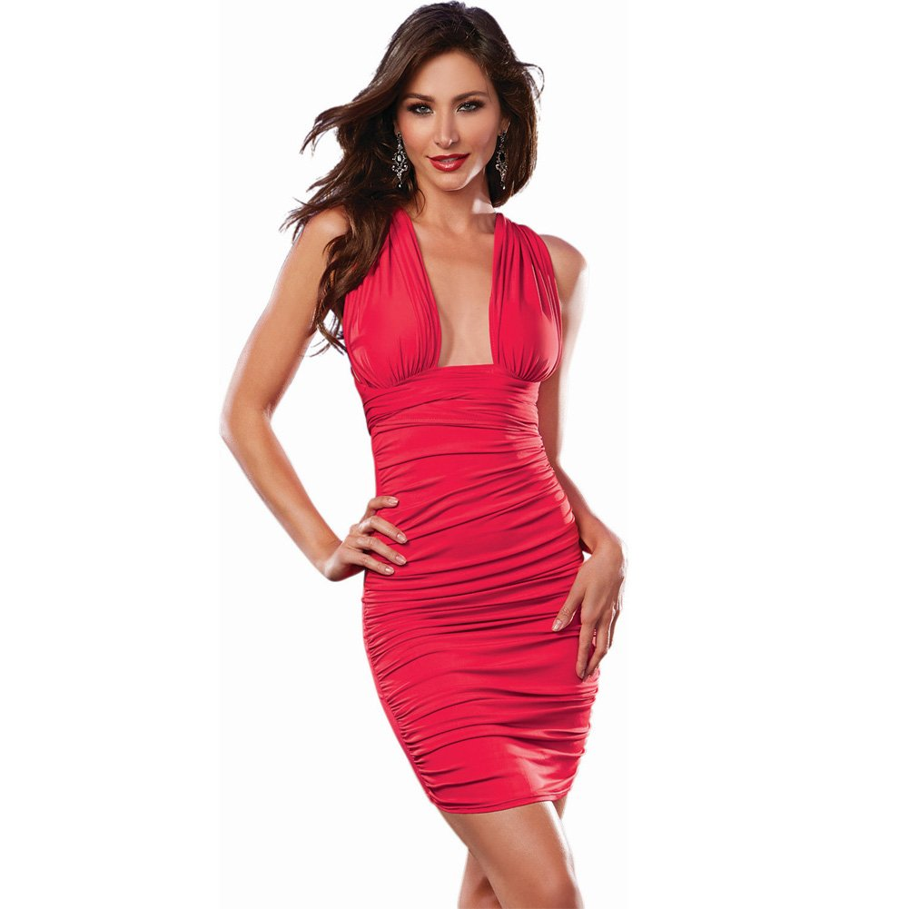 Dreamgirl 6-Way Ruched Front Stretch Jersey Dress Lingerie Small Hot Red - View #3