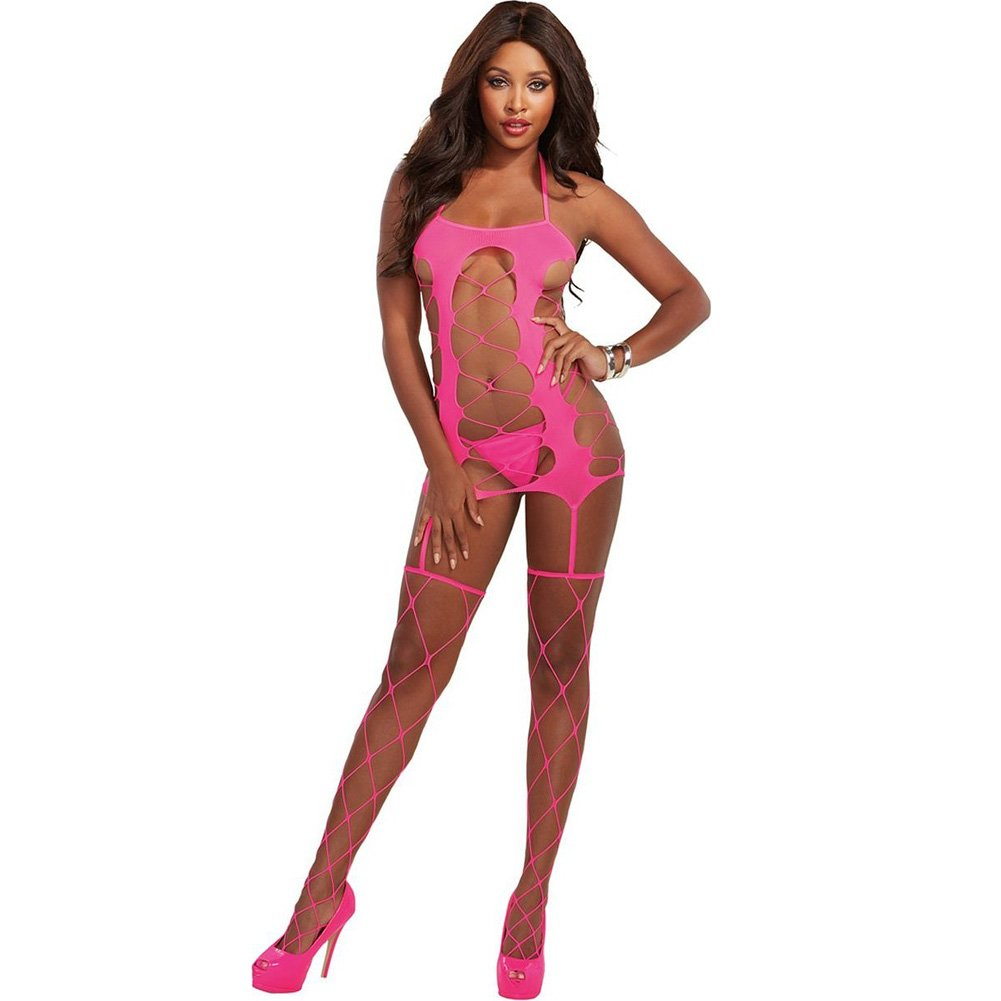Fence Net Garter Dress with Adjustable Halter Ties and Attached Garters and Thig.. - View #1