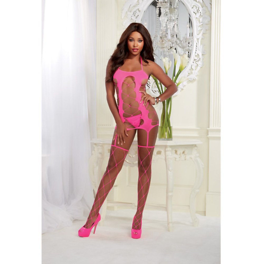 Fence Net Garter Dress with Adjustable Halter Ties and Attached Garters and Thig.. - View #3