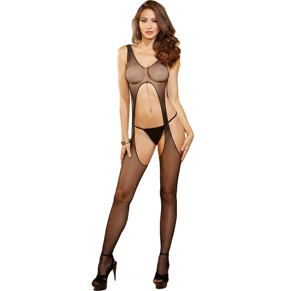 Body Stocking with Front and Back Cut Outs Black One Size - View #1
