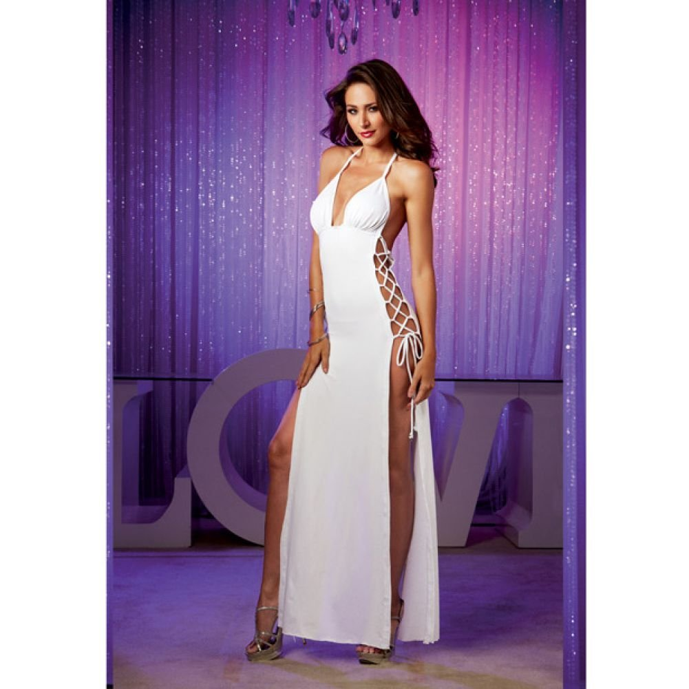 Stretch Jersey Full Length Unlined Halter Dress with Open Sides and Adjustable L.. - View #3