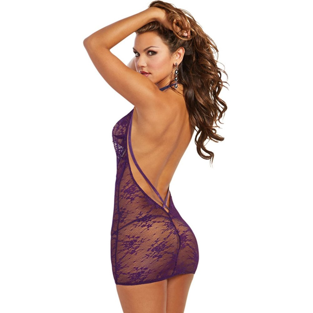 Dreamgirl Mesh Chemise with Strappy Accents and G-String Set One Size Plum - View #2
