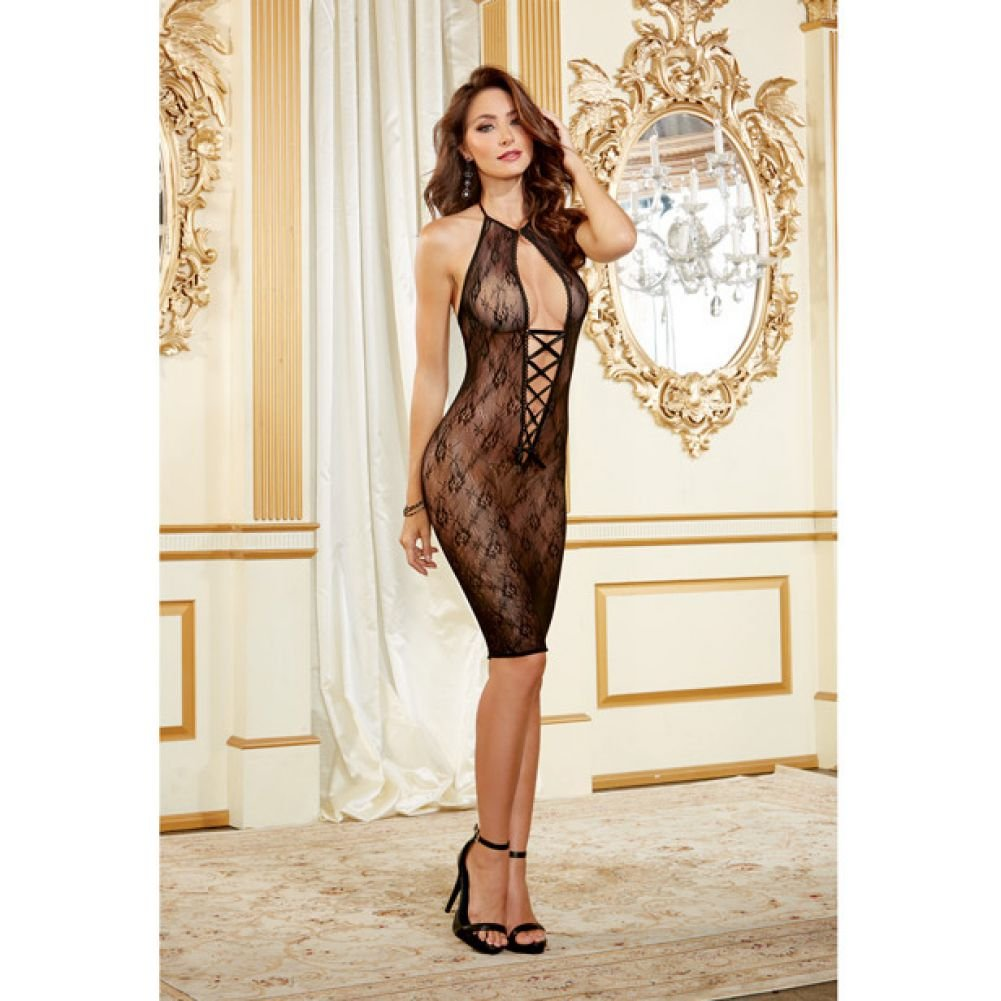 Dreamgirl Floral Mesh Knee Length Chemise with Lace Up Front One Size Black - View #3