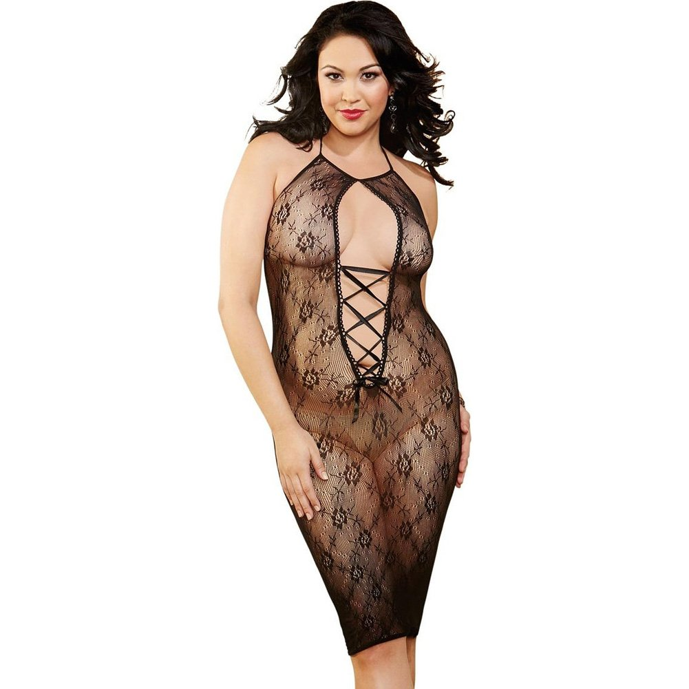 Floral Mesh Knee Length Chemise with Lace Up Front Black Queen - View #1