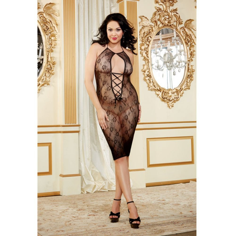 Floral Mesh Knee Length Chemise with Lace Up Front Black Queen - View #3