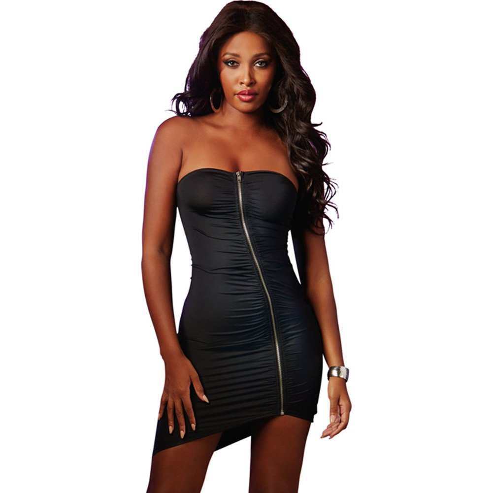Strapless Dress with Zip Up Front Black Medium - View #1