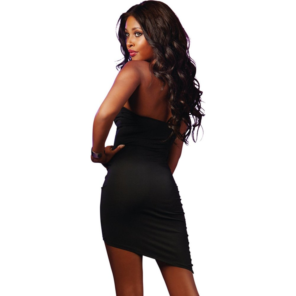 Strapless Dress with Zip Up Front Black Large - View #2