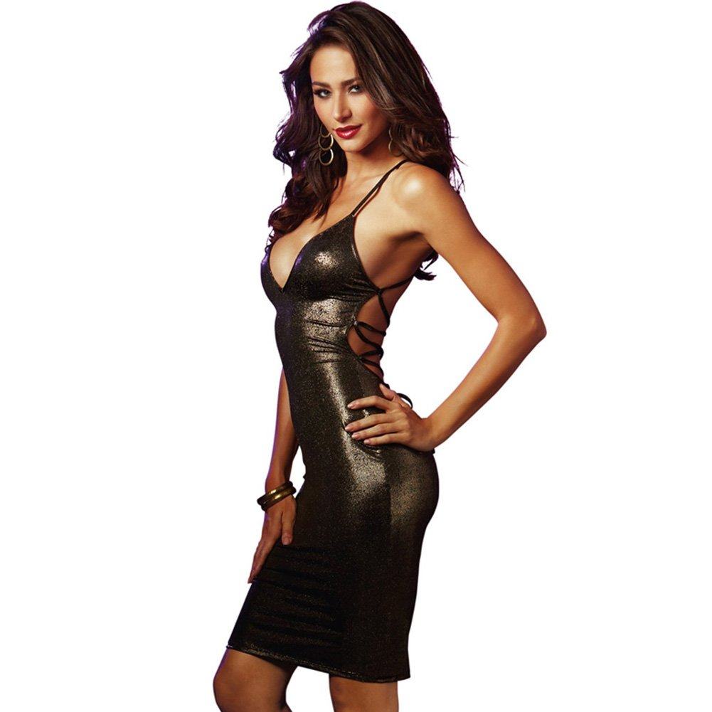 V Cut Dress with Strappy Back Black Gold Small - View #1