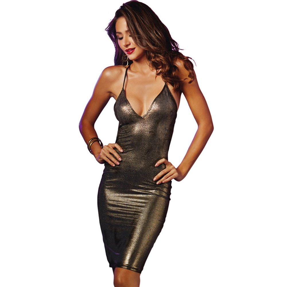 V Cut Dress with Strappy Back Black Gold Large - View #2