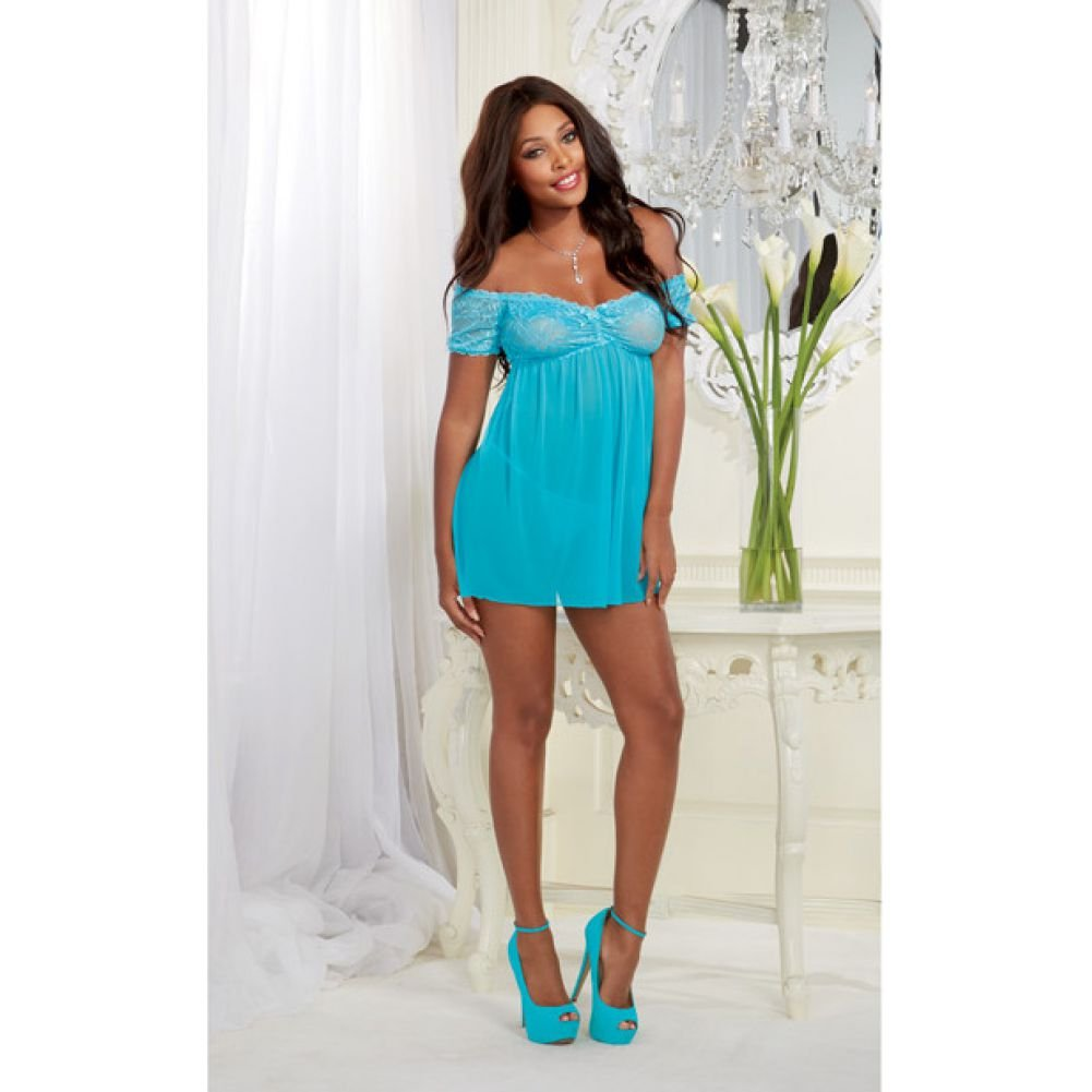 Mesh and Lace Off the Shoulder Babydoll with G-String Turquoise One Size - View #3