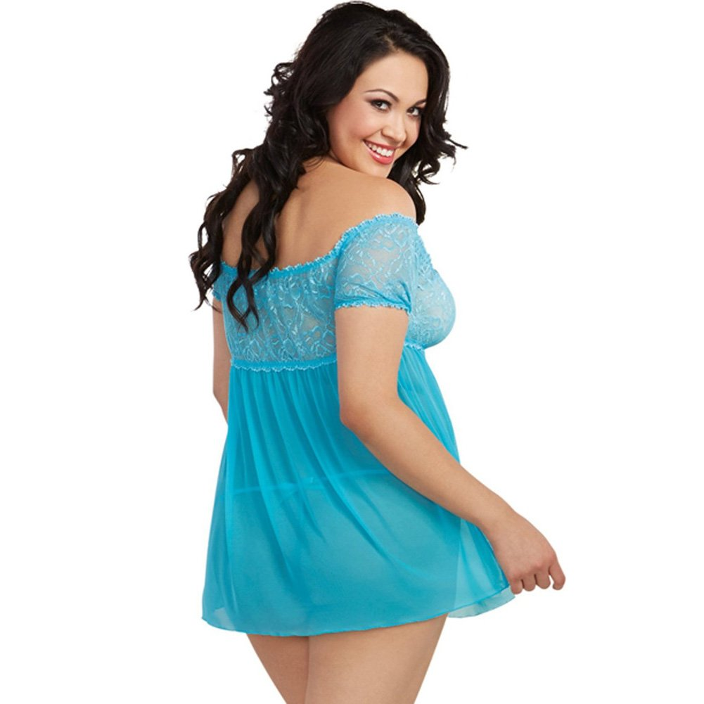 Mesh and Lace Off the Shoulder Babydoll with G-String Turquoise Queen - View #2