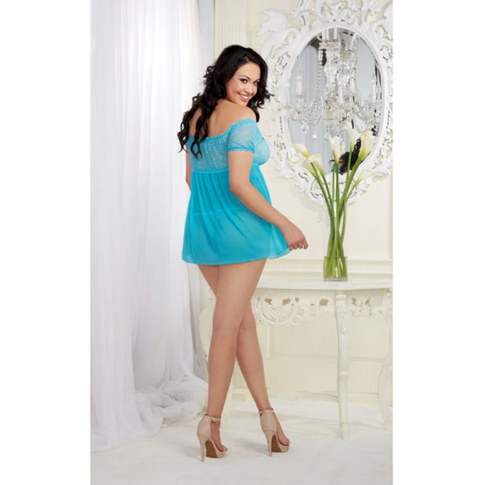 Mesh and Lace Off the Shoulder Babydoll with G-String Turquoise Queen - View #4