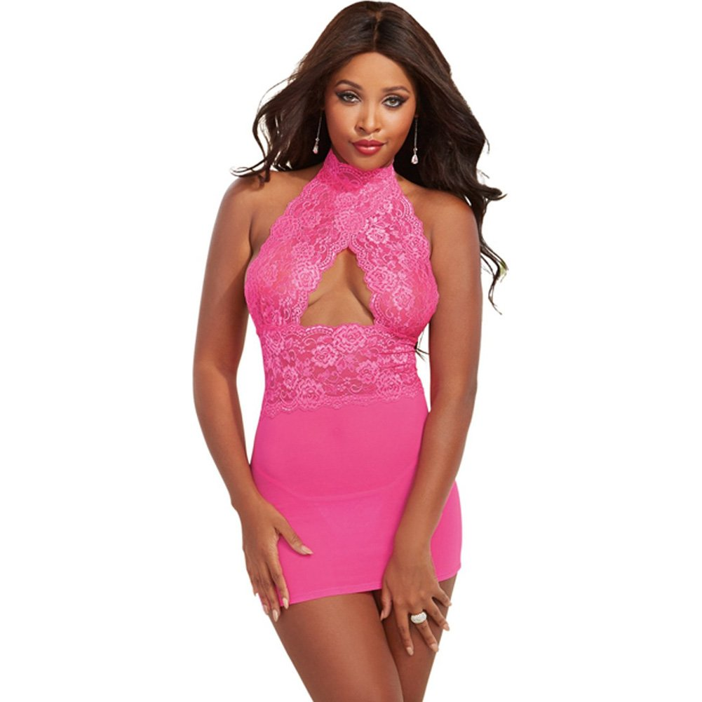 Mesh and Lace Chemise with G-String Shocking Pink One Size - View #1