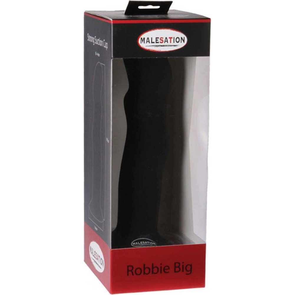 "Malesation Silicone Robbie Dildo 7.5"" Large Black - View #1"