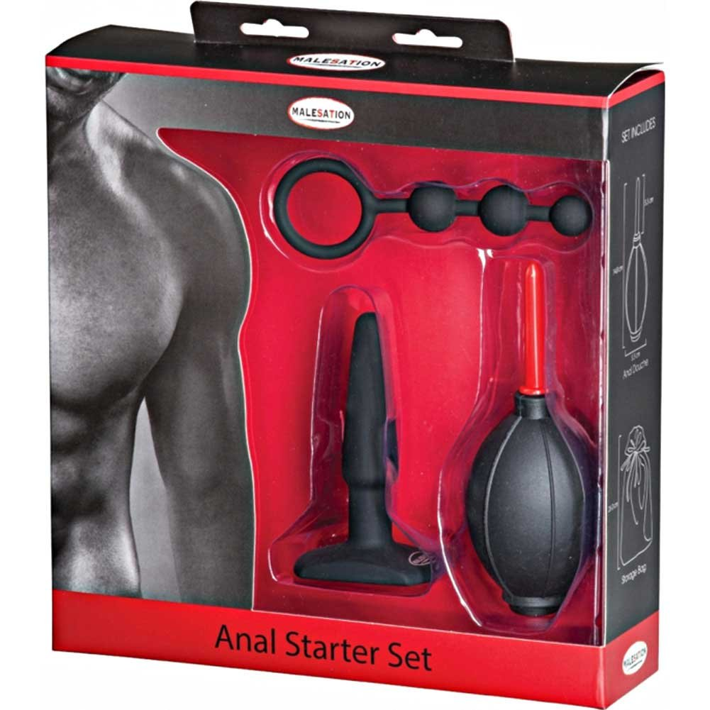 Malesation 3 Piece Silicone Anal Starter Kit Black - View #1