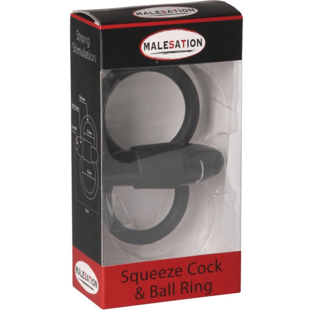 Malesation Squeeze Vibrating Cock and Ball Ring Black - View #1